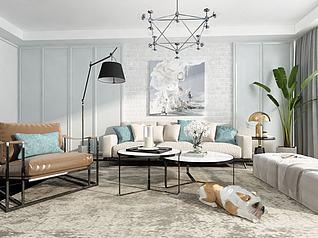 客厅沙发茶几现代组合3d模型