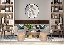 新中式原木沙发组合模型