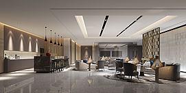 现代中式会客厅模型