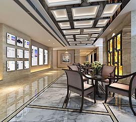 现代会客厅大厅模型