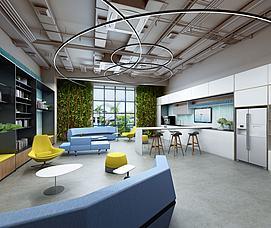 彩色元素会客厅休息区模型
