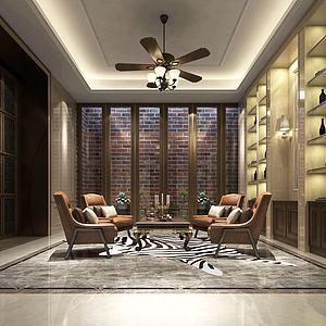 中式会客厅品酒区模型3d模型