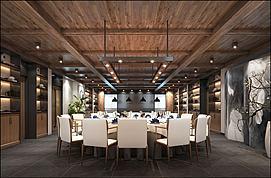 中式大型餐厅包间模型