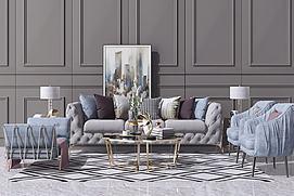 欧式简欧沙发茶几组合模型