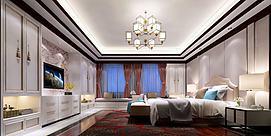 现代起居室大空间卧室模型