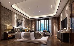 中式壁纸摆设卧室模型3d模型
