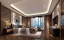 中式壁纸摆设卧室模型