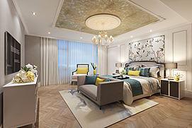花鸟壁纸现代卧室模型