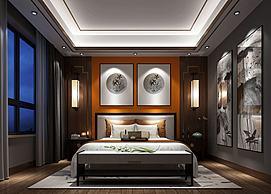 山竹壁画主题简约卧室模型