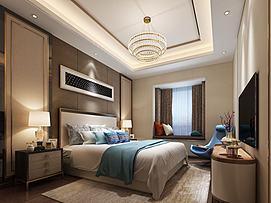 点状壁挂现代卧室模型