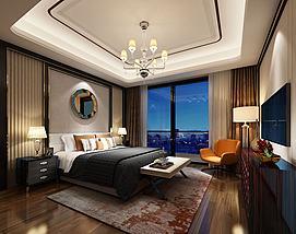 圆形镜面壁挂主题现代卧室模型