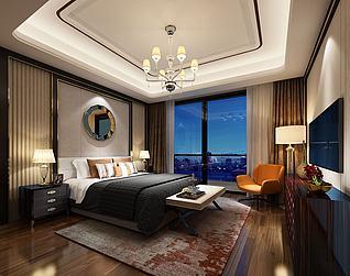 圆形镜面壁挂主题现代卧室3d模型