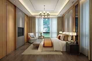现代金色调主打卧室3d模型