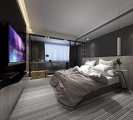 现代条纹地毯卧室模型