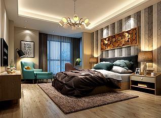 现代皮质卧具卧室3d模型