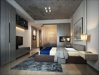 简约简易中式卧室3d模型