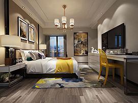 中式壁画特色黄木椅卧室模型
