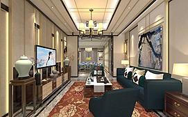 中式牡丹花地毯客厅餐厅模型