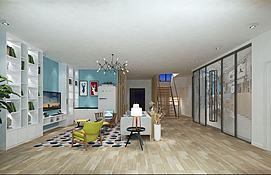 北欧客厅艺术长廊办公区模型