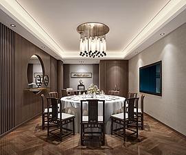 中式餐厅包间原木色桌椅模型