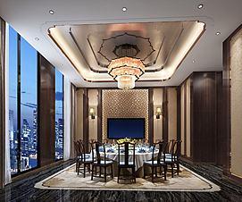 金碧中式主题餐厅吊灯包间模型