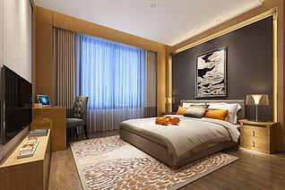 现代简约木框木柜卧室3d模型