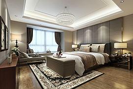 古花地毯中式卧室模型