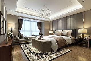 古花地毯中式卧室3d模型