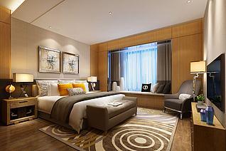 中式对称壁画简约主卧室3d模型