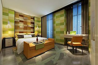 翠绿橘黄双色调现代卧室3d模型