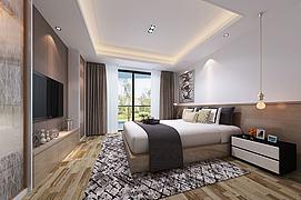 简约简洁简易中式卧室模型