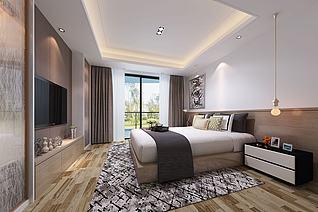 简约简洁简易中式卧室3d模型