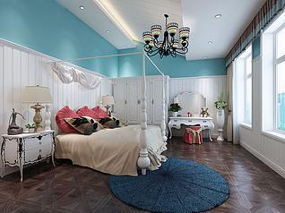 欧式白色主卧衣柜化妆台3d模型