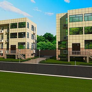 现代小区楼房模型