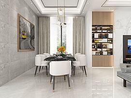 现代简约镶嵌式书柜客厅模型