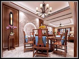 典型中式客厅餐厅茶座模型