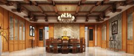 中式实木桌椅门餐厅包间模型