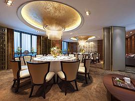 现代餐厅大包房年会场所模型