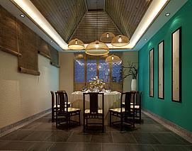 中式卷帘餐厅包间模型