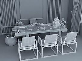 新中式流水茶桌组合模型