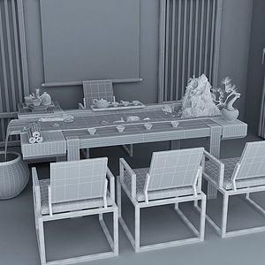 新中式流水茶桌组合3d模型