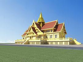 傣族建筑寺庙模型