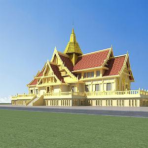 傣族建筑寺廟模型3d模型