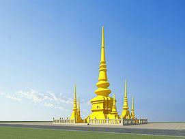 傣族建筑佛塔模型