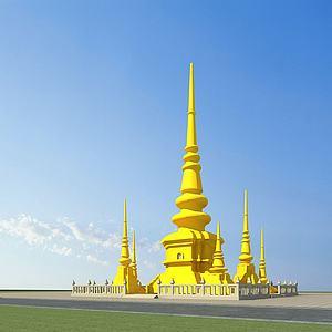 傣族建筑佛塔模型3d模型