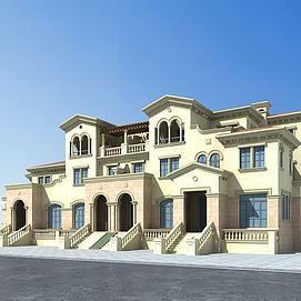 3d欧式联排别墅模型