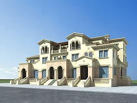 欧式联排别墅模型