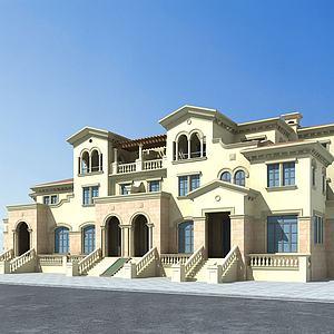 歐式聯排別墅模型3d模型