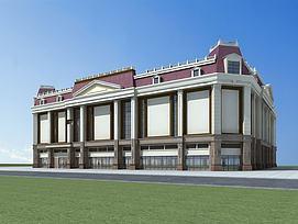 欧式建筑商场模型