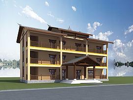 彝族建筑村委会模型